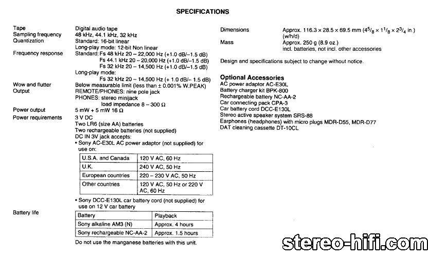 Sony WMD DT1 specyfikacja Sony WMD DT1